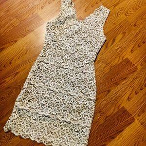 WHBM Champagne lace dress